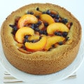 Peach Blueberry Cake Pie