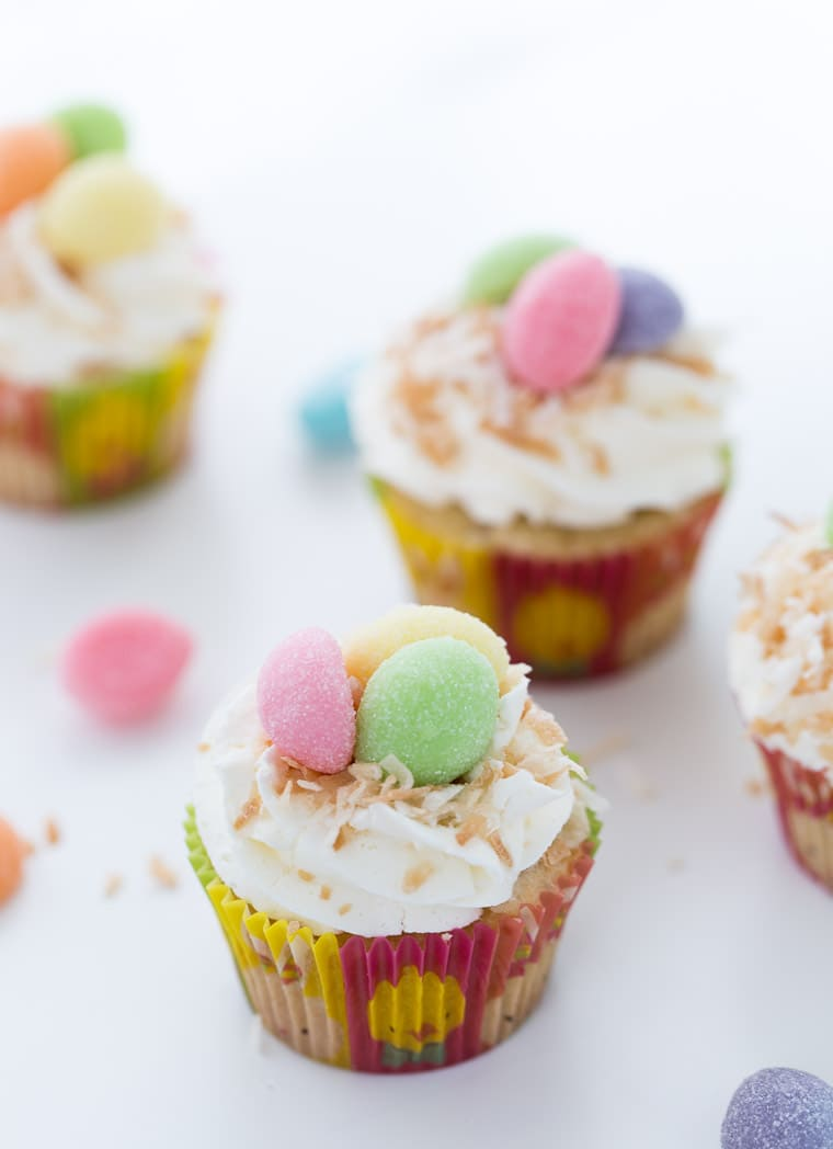 If you are looking for a great Easter cupcake recipe that's full of cuteness, packed with flavor and easy to make, these coconut cupcakes are for you.