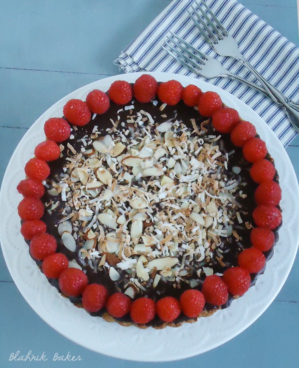 chocolate raspberry almond tart