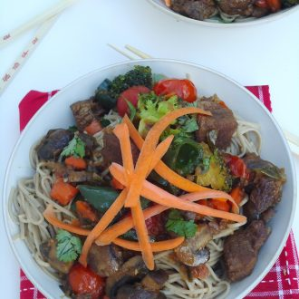 Ginger Soy Beef Stir Fry with Chile Tomatoes