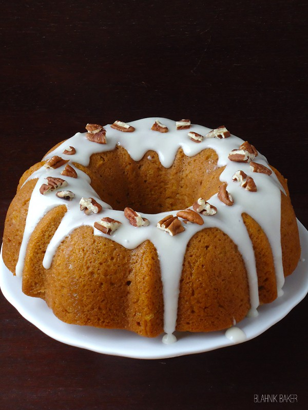 Pumpkin Bundt Cake with Bourbon Cream Cheese Frosting - Blahnik Baker