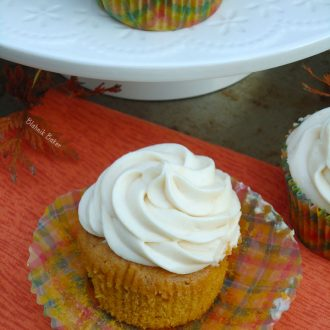 Pumpkin Spice Cupcakes with Caramel Cream Cheese Frosting