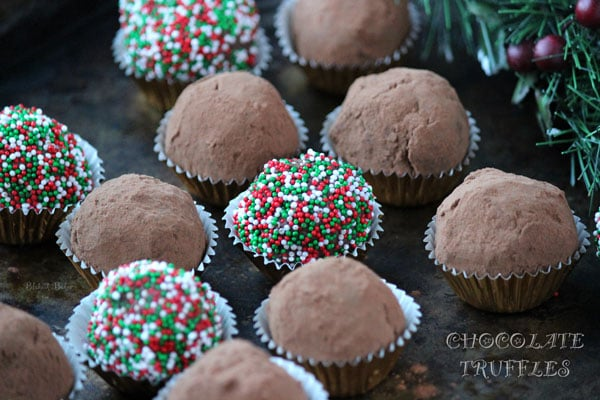 Chocolate truffles are decadent, creamy and indulgent. They are a homemade classic holiday treat.   Recipe on BlahnikBaker.com