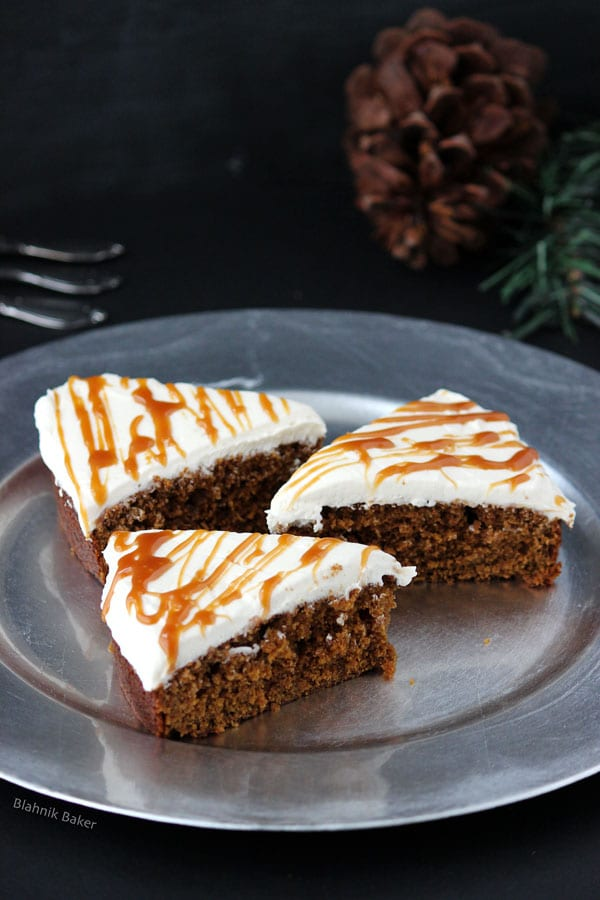 Gingerbread Cake with Molasses Buttercream Frosting - Gingerbread cake, moist and flavorful, with molasses buttercream and salted caramel drizzle. A holiday dessert that will surely become a new favorite! | Recipe on BlahnikBaker.com