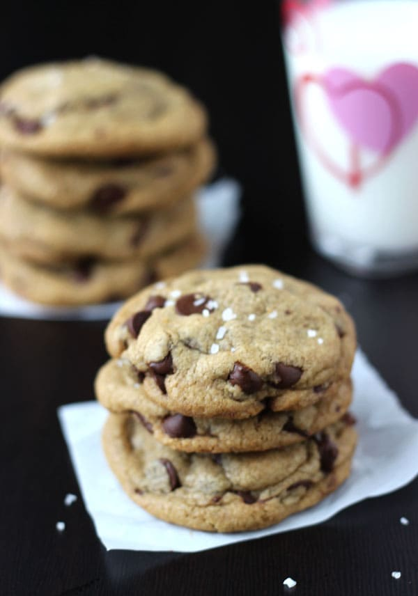 Nutella Stuffed Salted Chocolate Chip Cookies
