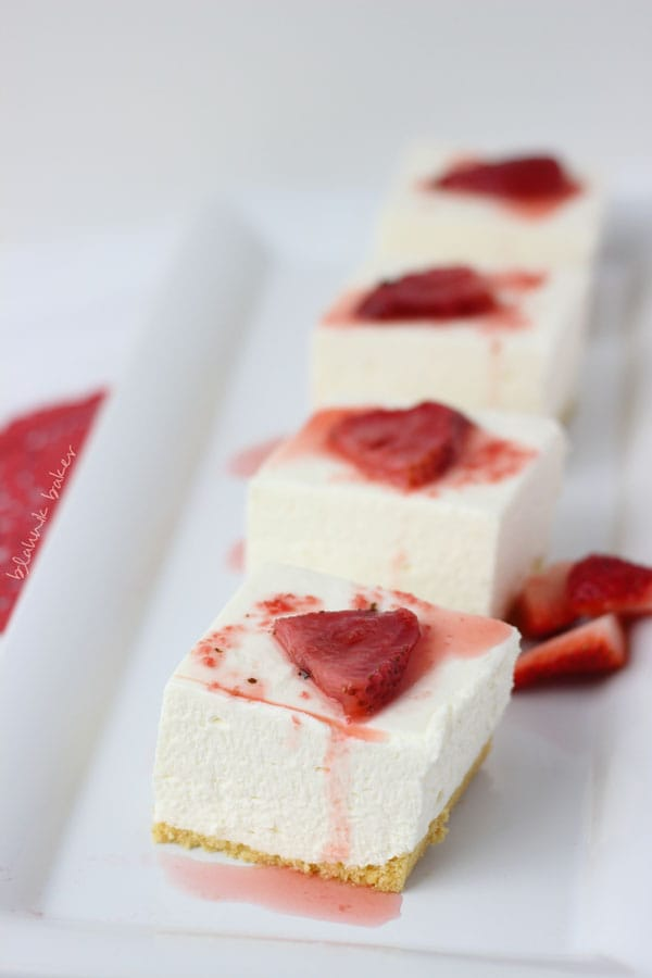 Cheesecake with Ginger Lime Candied Strawberries - Blahnik Baker