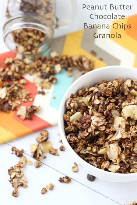 Peanut Butter Chocolate and Banana Chip Granola