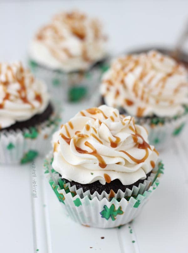 Chocolate Guinness Cupcakes with Whiskey Caramel and Baileys Buttercream
