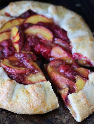 Peach raspberry galette