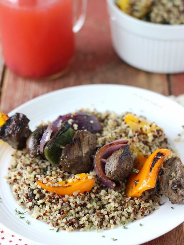 Grilled Lemongrass Chicken With Red Quinoa And Vegetables Recipes ...