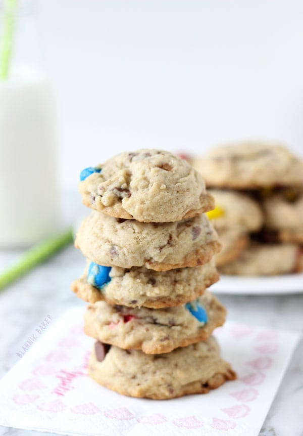 Spiced M&M Toffee Cookies- soft and spiced cookies with crunchy bits of toffee