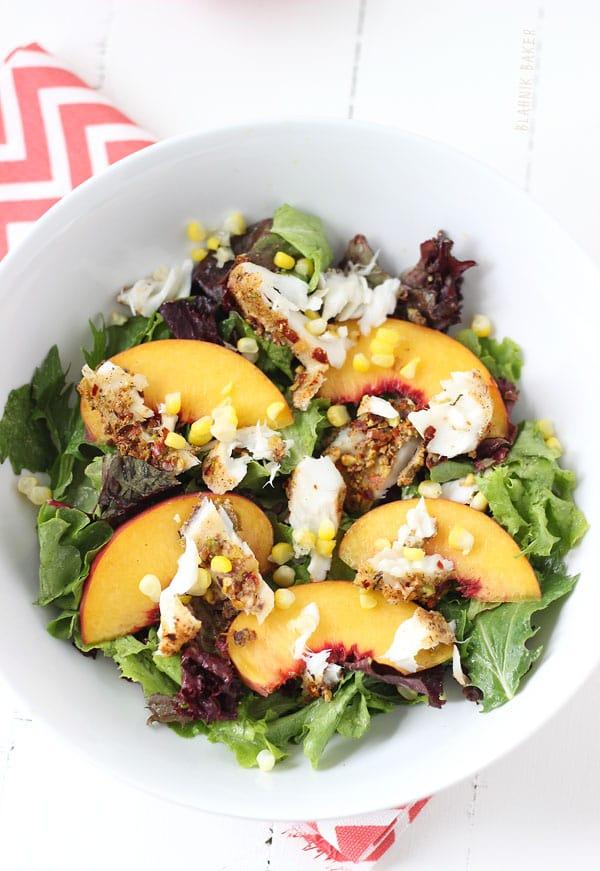 Pistachio Crustred Tilapia and Peach Salad