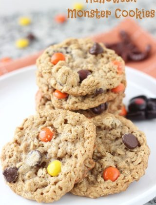 Halloween Monster Cookies- peanut butter oatmeal crunchy chewy cookies