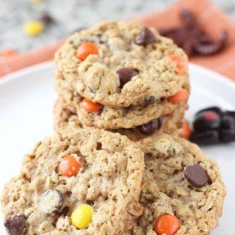 Halloween Monster Cookies- peanut butter oatmeal crunchy chewy cookies