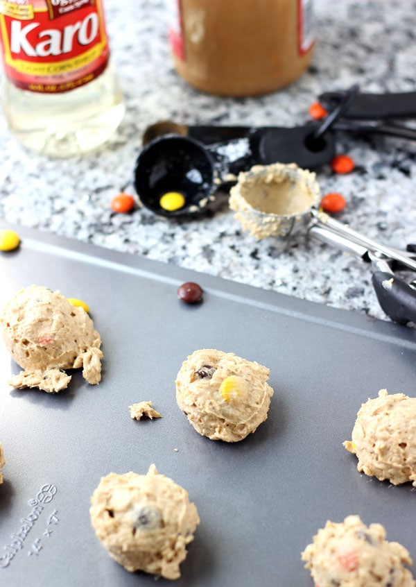 Halloween Monster Cookies- chewy crunchy peanut butter oatmeal cookies!