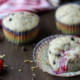Raspberry Chocolate Freekeh Muffins