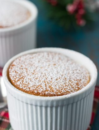Eggnog Pudding Cake- pillowy and gooey eggnog cake for the holidays!