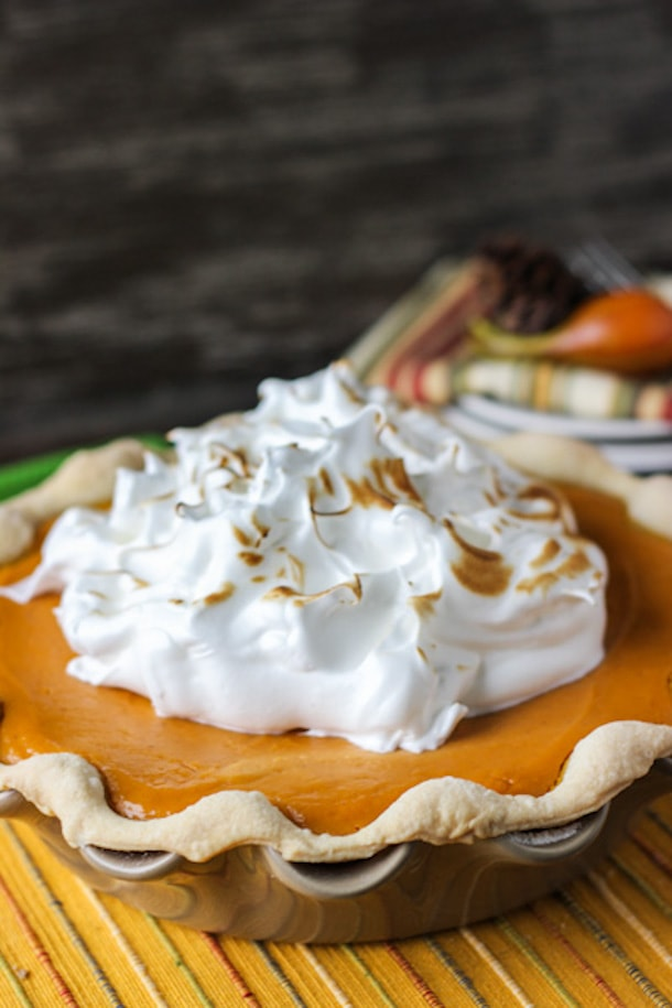 Sweet Potato Pie with Maple Marshmallow Topping - One of my favorite Thanksgiving desserts!