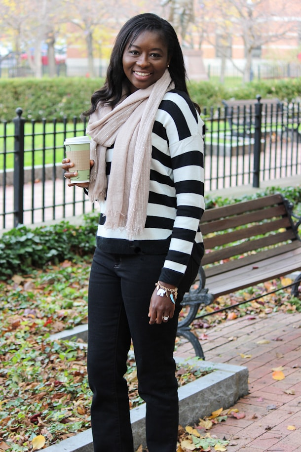 Fall outfit with Striped Sweater