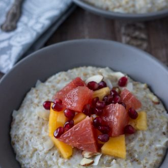 Creamy hearty steel cut oatmeal is a great way to start any day with nutty flavor and lots of fresh winter fruits to keep it exciting!