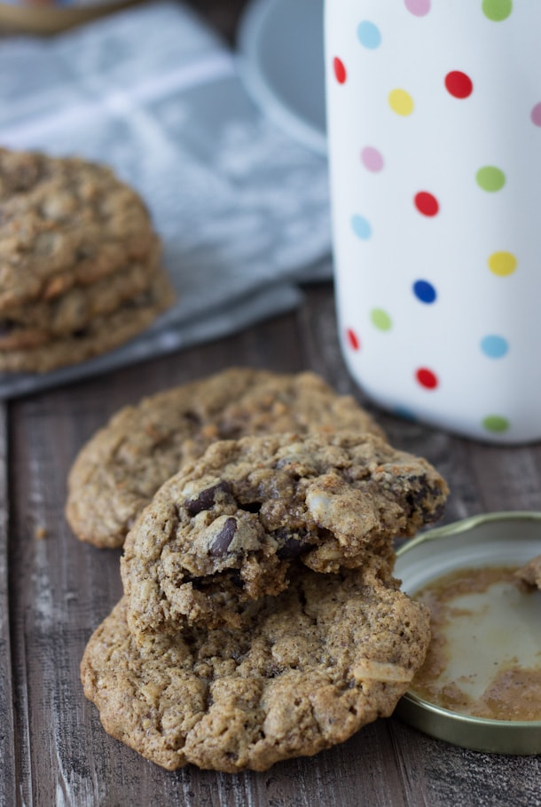 These flourless almond butter chocolate chip oatmeal cookies are soft and chewy and gluten-free!