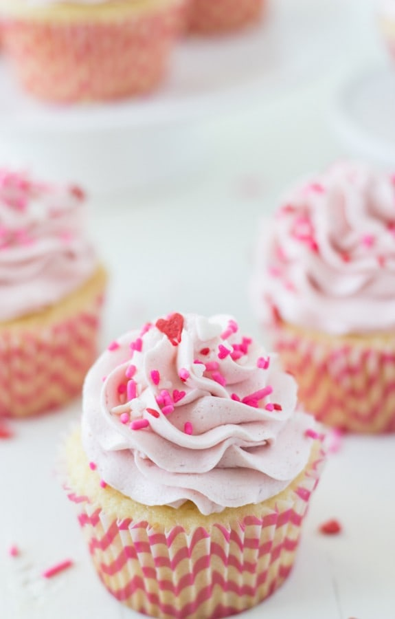 Vanilla Cupcakes with Strawberry Mascarpone Frosting - Blahnik Baker