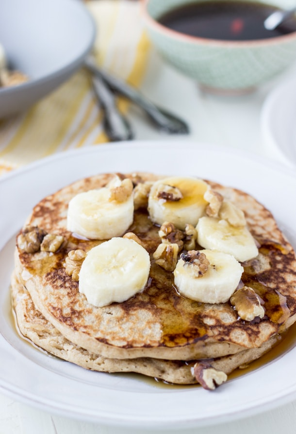 Whole Wheat Banana Walnut Pancakes-4