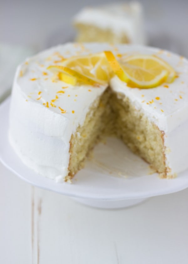 Meyer Lemon Cake with White Chocolate Mousse - Blahnik Baker
