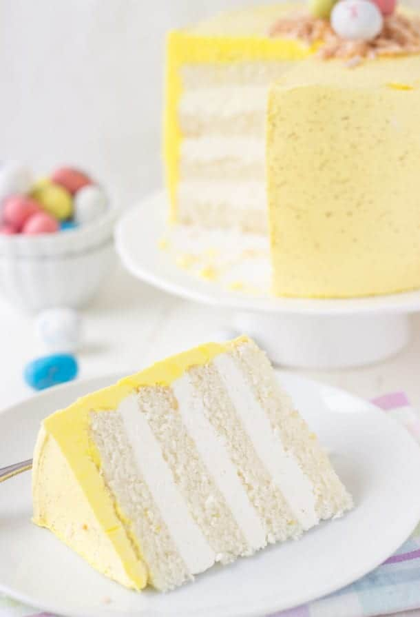 Coconut Lemon Layer Cake (Easter Speckled Egg Cake) - Blahnik Baker