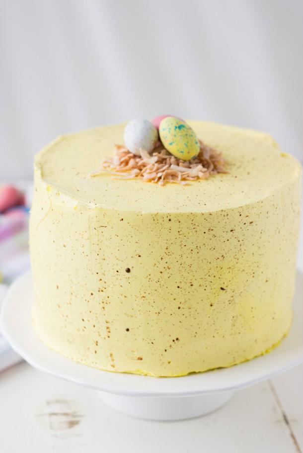 Coconut Lemon Layer Cake (Easter Speckled Egg Cake) - Blahnik Baker