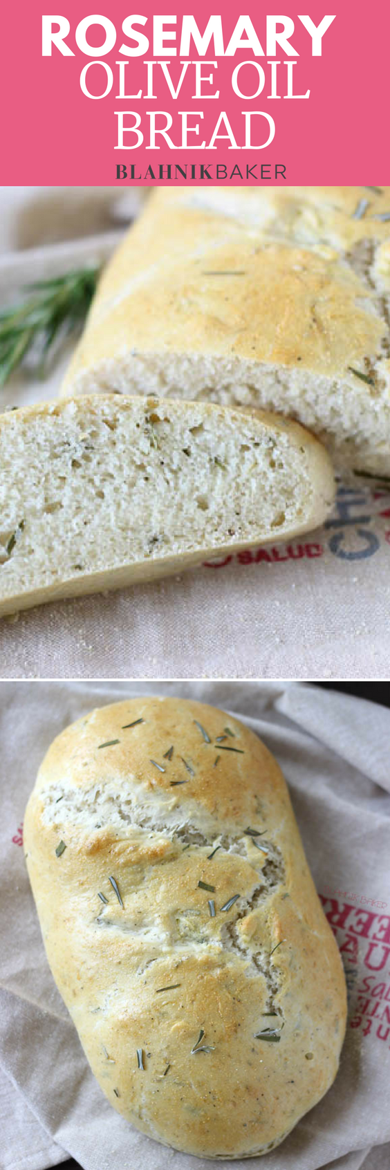 This classic rosemary olive oil bread recipe yields a very soft bread on the inside with a golden crunchy crust. Incredibly easy to make too.