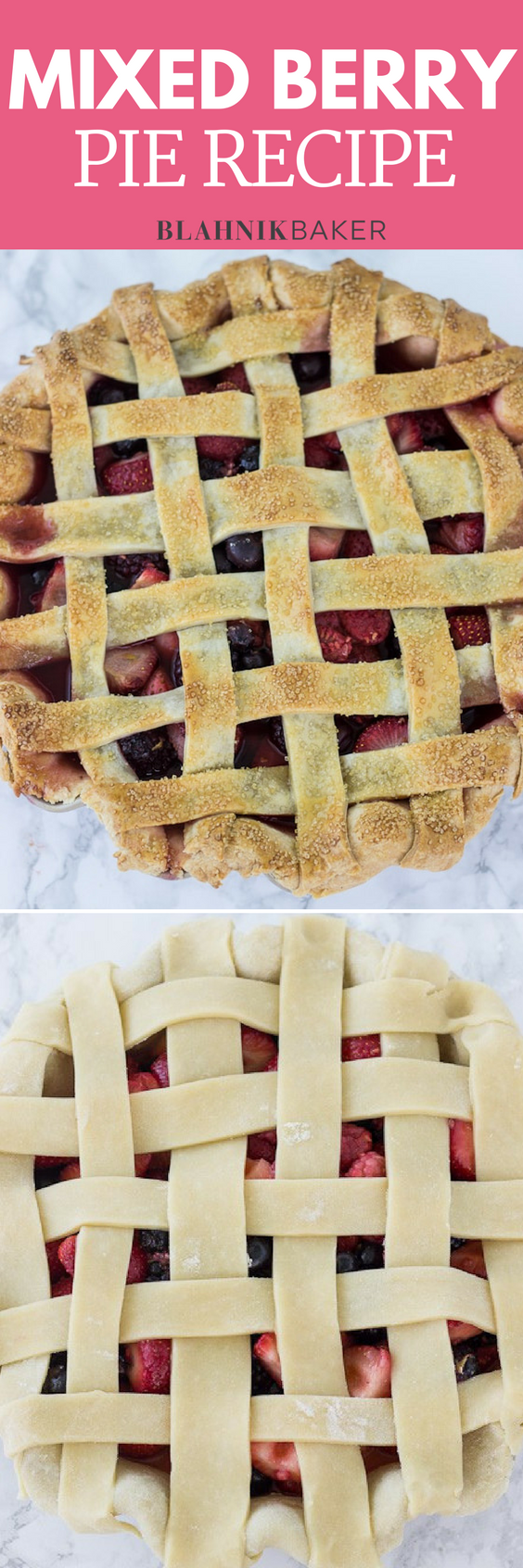 Mixed berry piebegins with a buttery, flaky pie crust, then it's packed with a mixture of fresh berries.