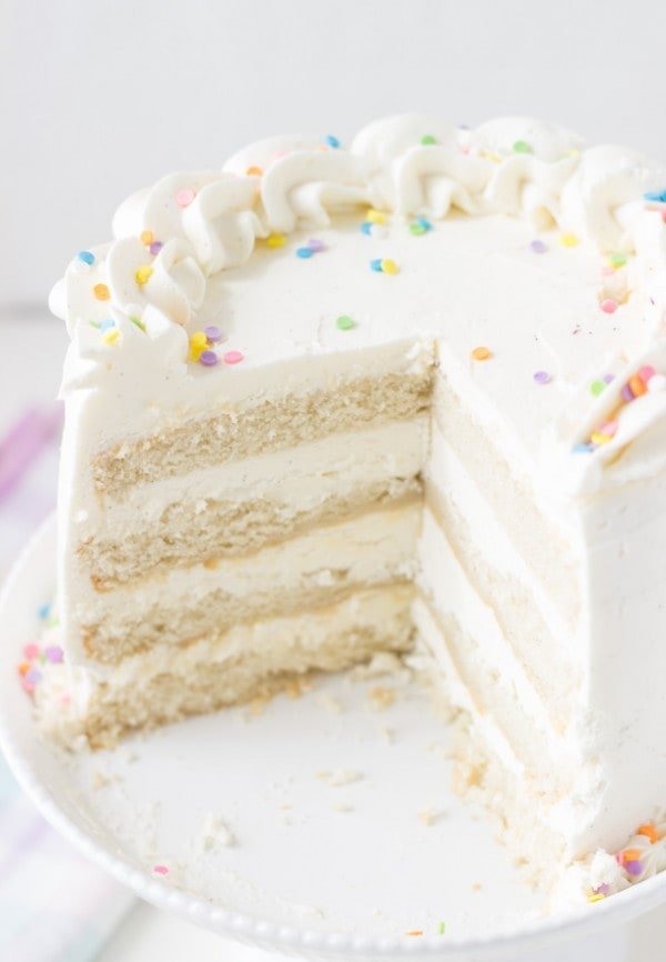 Classic Vanilla Bean White Layer Cake - a soft, fluffy and delicious vanilla cake recipe perfect for any birthday celebration.