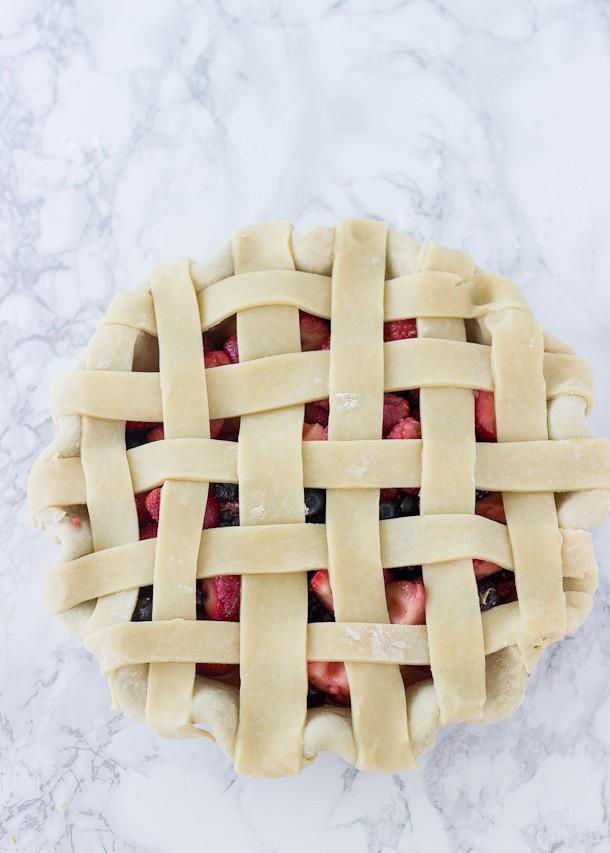 Mixed Berry Pie - juicy blueberries, strawberries, and black berries in a buttery, flaky pie crust! | BlahnikBaker.com