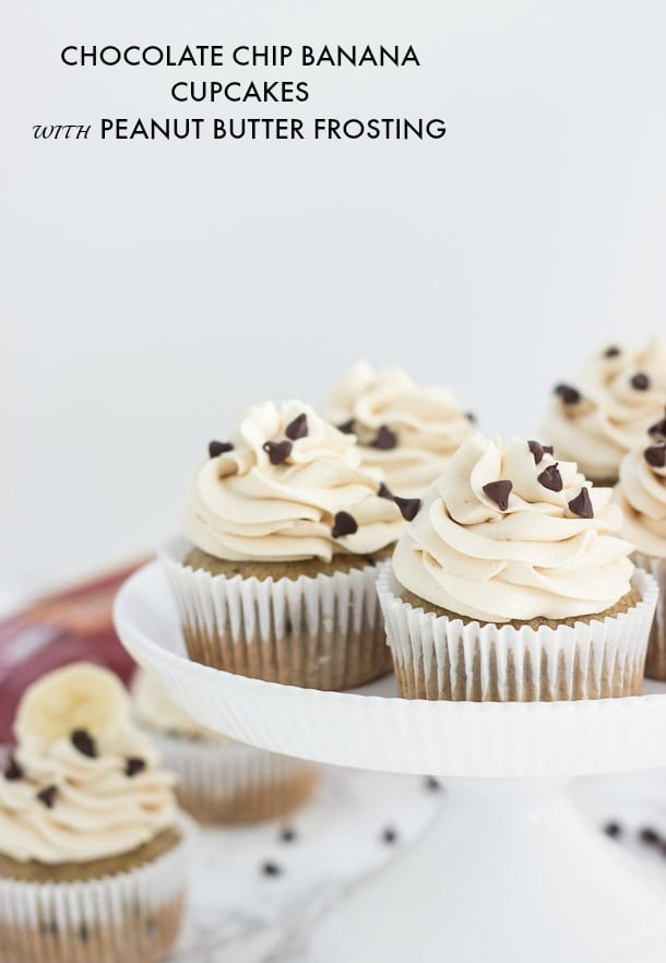 chocolate chip banana cupcakes with peanut butter frosting-2-1