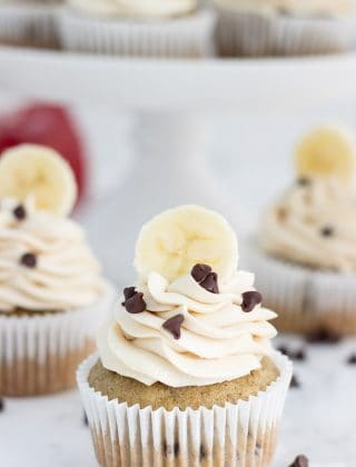 Chocolate Chip Banana Cupcakes with Peanut Butter Frosting