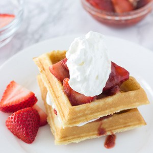 Coconut Waffles with Strawberry Rhubarb Compote