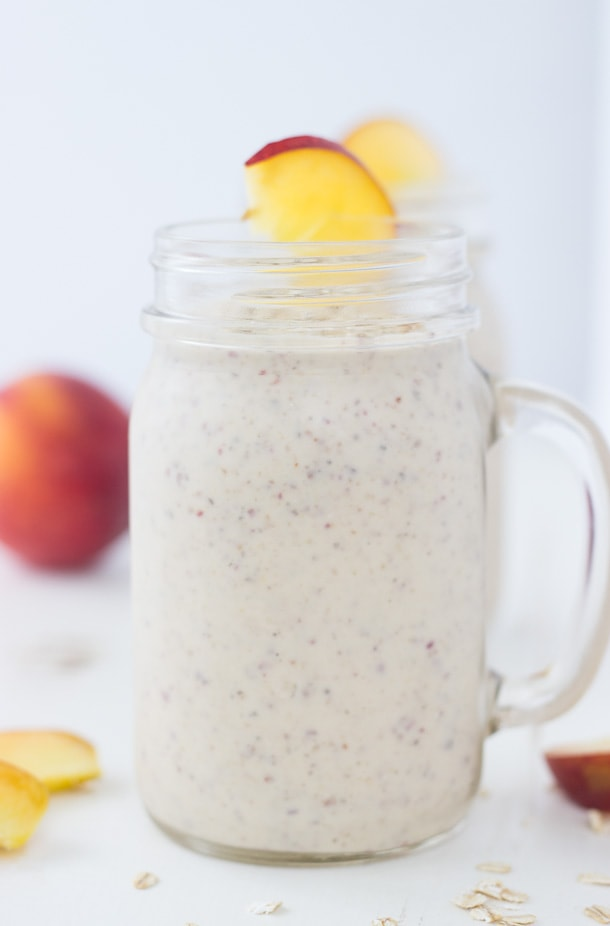 This Peach Cobbler Smoothie is hearty, healthy and bursting with all the flavors of your classic peach cobbler.