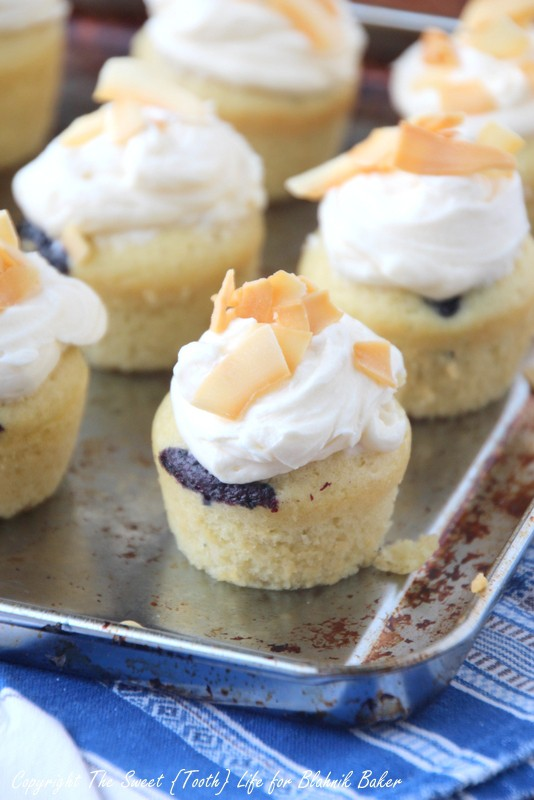 These Mini Blueberry Coconut Cupcakes are dairy free, delicious and bursting with fresh blueberries.