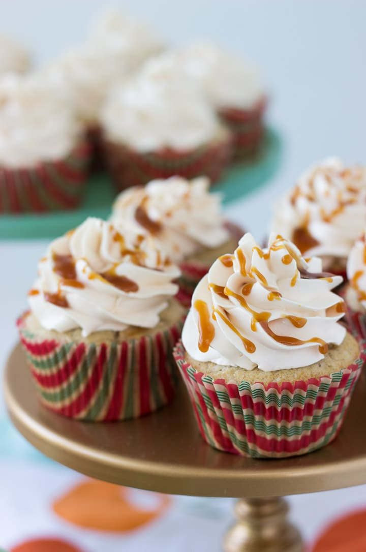 These Salted Caramel Apple Cupcakes are perfectly spiced apple cakes that are moist and fluffy with bites of apple and topped with caramel swiss meringue buttercream