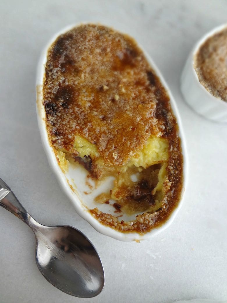 This Cookie Dough Crème Brûlée is rich yet light and creamy with crunchy bites of the caramelized sugar.