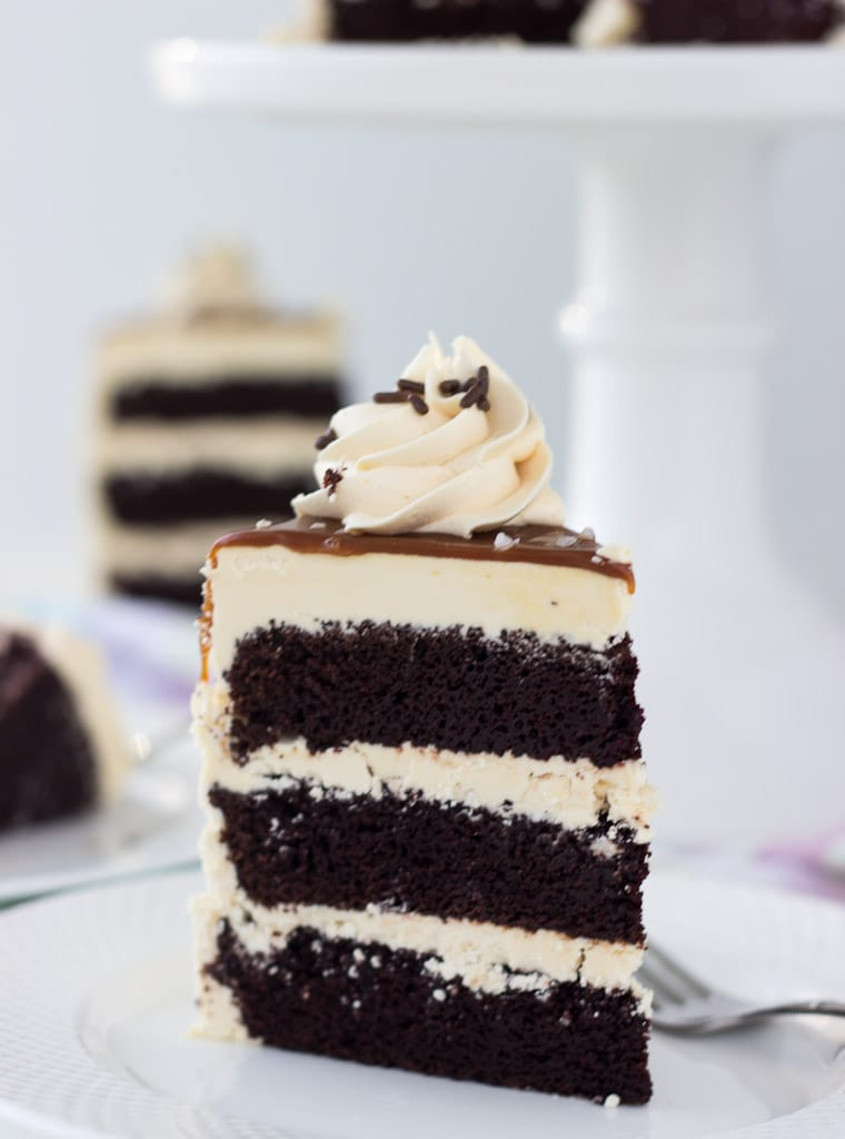 A decadent chocolate cake with salted caramel frosting