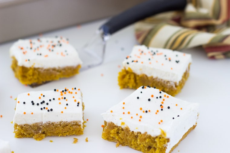Pumpkin Cake Bars with Brown Butter Frosting