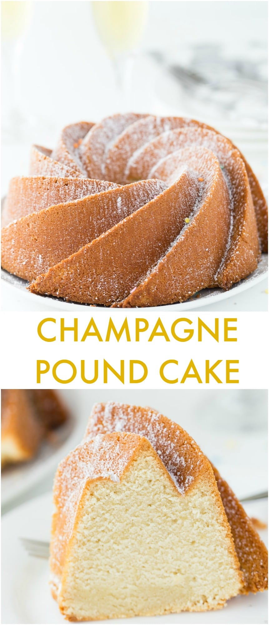 An easy moist and crumbly champagne pound cake recipe that is perfect for any celebration from New Year's Eve to birthdays.