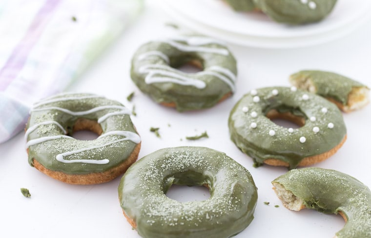 An old fashioned donut, these coconut matcha donuts are soft, tender and topped with a sweet matcha white chocolate glaze.