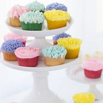 A tutorial on how to make flower cupcakes using vanilla buttercream and piping bags. These cupcakes are perfect for Spring and Mother's Day!