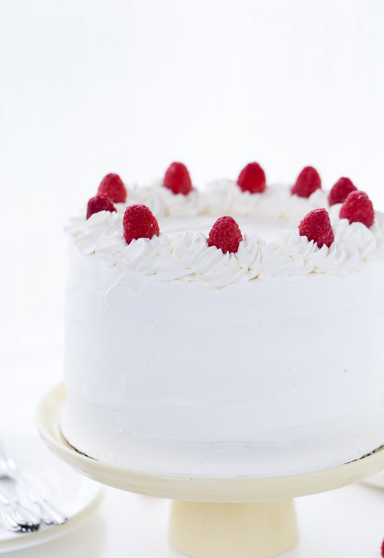 Coconut Raspberry Cake with Whipped Cream Frosting