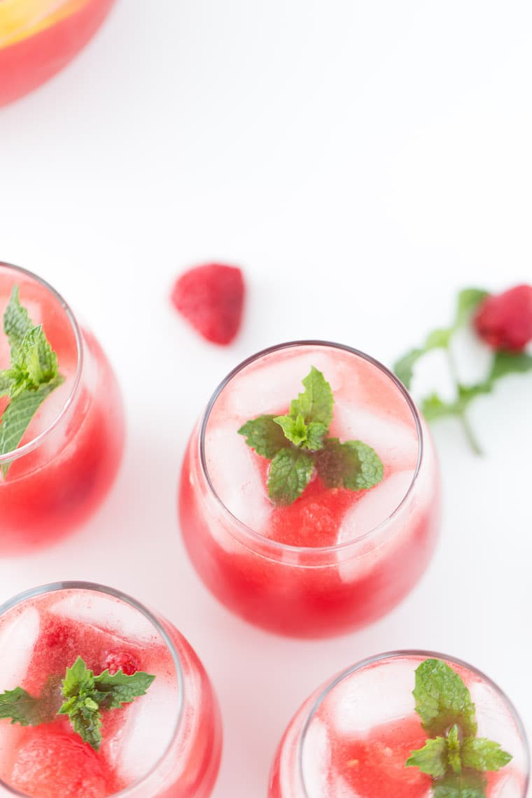A refreshing recipe for watermelon sangria with either sparkling wine, dry white or rose.