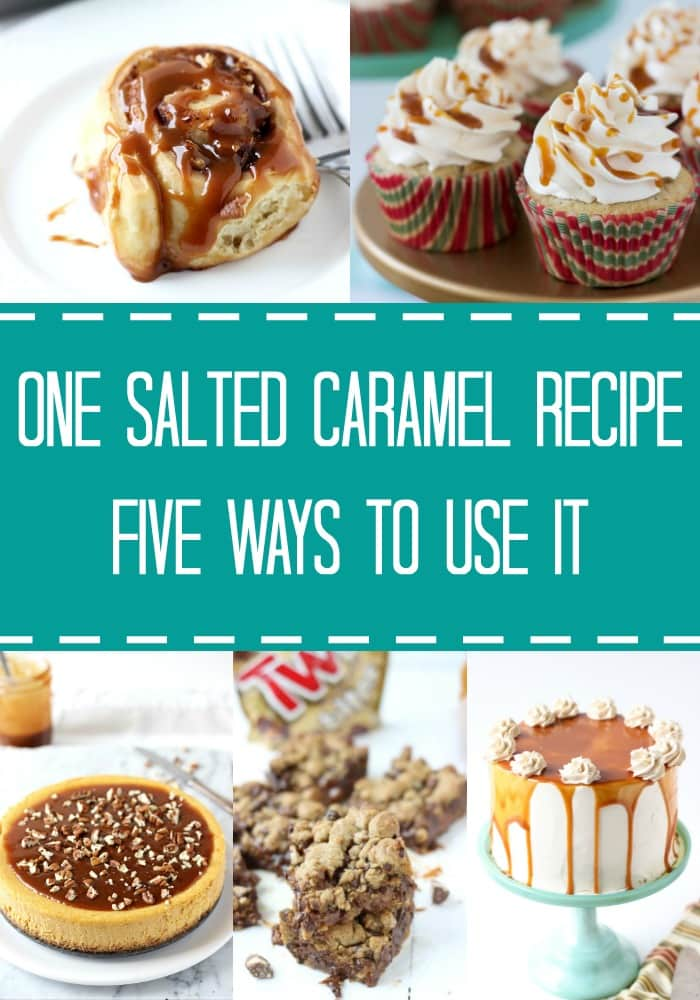Irresistible recipes with one salted caramel sauce, from salted caramel twix bars to pumpkin pecan cheesecake with salted caramel sauce.