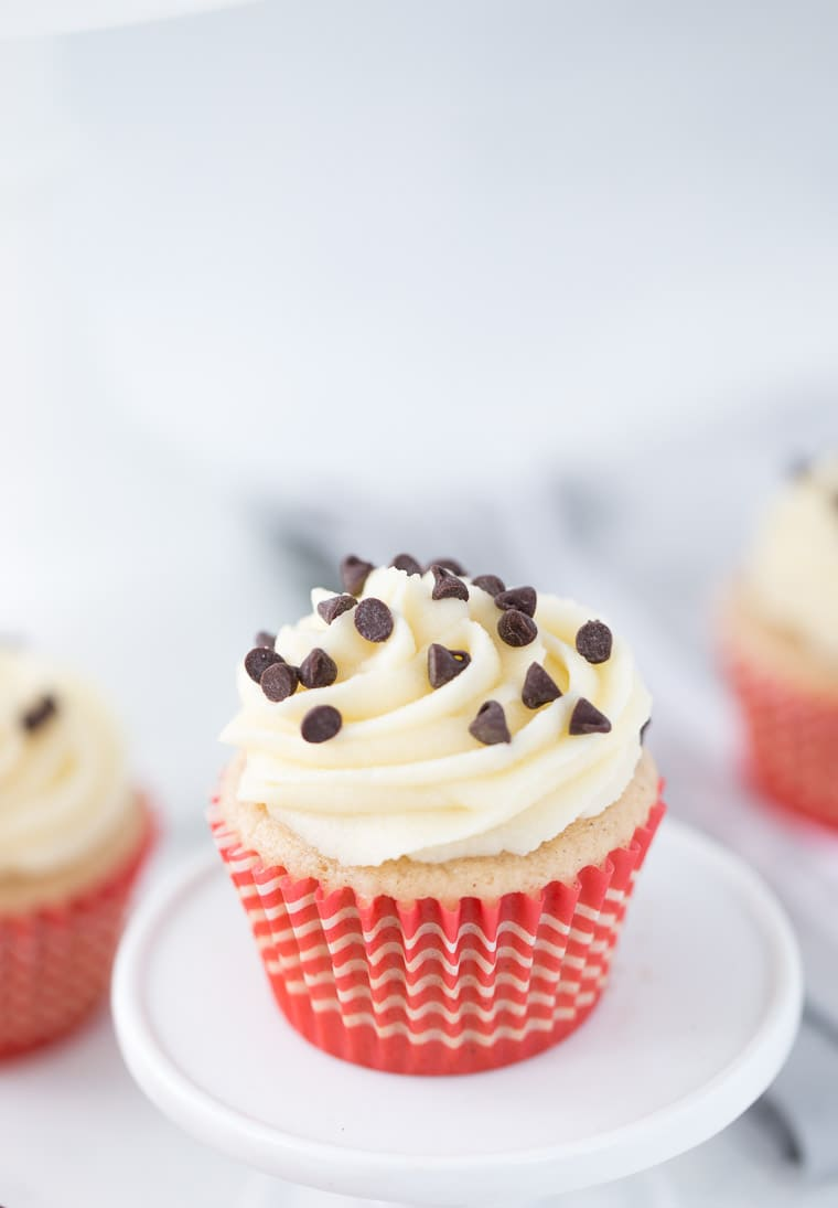 These cannoli cupcakes are lightly sweet, light and have a slight touch of cinnamon.